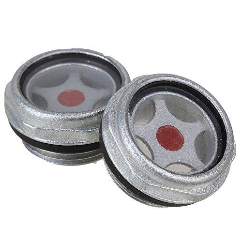 cnbtr 32mm silber Ton Air Kompressor Metall Öl Schauglas G3/10,2cm Gewinde 2Stück