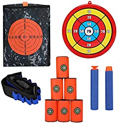 FTVOGUE Cible de tir Sac de Rangement Sac de Mousse en Mousse Peut Pince de Ceinture Cible kit de balles en Mousse Souple pour Pistolet Nerf Jeux Tactiques(Combo 2)