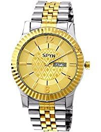 SPYN IGP Gold Plated Day and Date Luxury Watch for Men