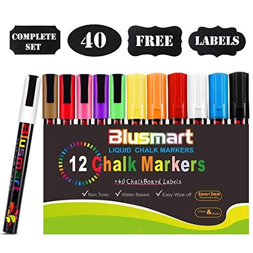 Blusmart Kreidemarker, 12 Stück farbig Sortiert mit 40 Tafelaufkleber, Reversible Stiftspitze 6mm+3mm, für Kartenherstellung DIY Fotoalbum Gebrauch auf irgendeiner Oberfläche-Papier Gläser Kunststoff - Farbe Helle Küche