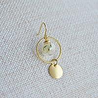 Ein Paar Limonium Echte Blume Glas Kugel Runden Geometrie Lange Vergoldet Ohrhänger