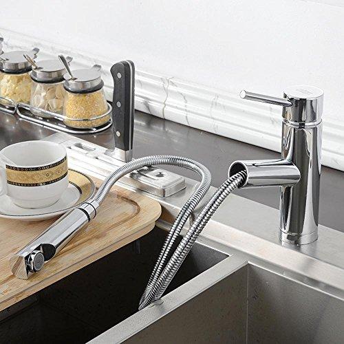 ssby–Teleskop Spüle in der Küche, Roll-Waschbecken Armatur Wasserhahn Hot und Cold, kann gestreckt werden mit Spray Guns, Dusche Düsen, ein (Dusche Roll-in)