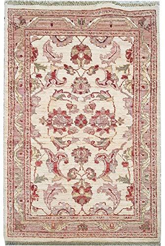 Smart Deal Traditionelle handgeknüpfte Moderne Chobi-Teppiche Elfenbein/Rot 100% Wolle Perserteppiche Größe (74 x 122) -