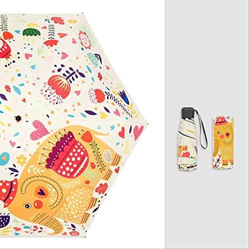 YSZYSA Elefante de Dibujos Animados Paraguas de Vinilo Engrosamiento Protector Solar protección UV Paraguas de Viaje Paraguas Plegables Mujer Sunny Parasol Lovely Beige