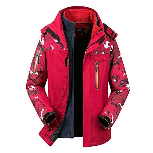 Amphia - Paar männliche Zweiteilige Abnehmbare Fleece-Liner Outdoor-Jacke Camouflage Jacke,Männer Winter Zweiteilige Set Tarnung wasserdicht Winddicht Outdoor-Sport-Mantel(Rot,XXXL) -