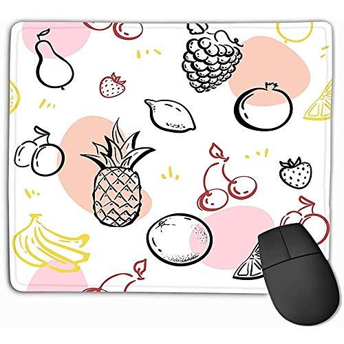 Mousepad Custom Design Gaming Mouse Pad Gummi längliche Mauspad 25 x 30 cm Doodle Früchte isoliert weiße Tafel gesunde Ernährung Skizze Ananas Erdbeeren Hipster
