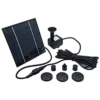 Solar Pond Pump - MASO 7V 1.4W 180L/H Solar Panel Powered Water Feature Pump Garden Pool Pond Aquarium Fountain Brushless, Power of Pump - JT-180(CE/ROHS/IP68) DC7V,140MA