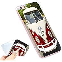 Phone Kandy® Volkswagen VW Camper Van TPU gel de silicona suave Retro caso / cubierta y protector de pantalla - Prime (iPhone 7 PLUS / iPhone 8 PLUS, rojo vintage y crema)