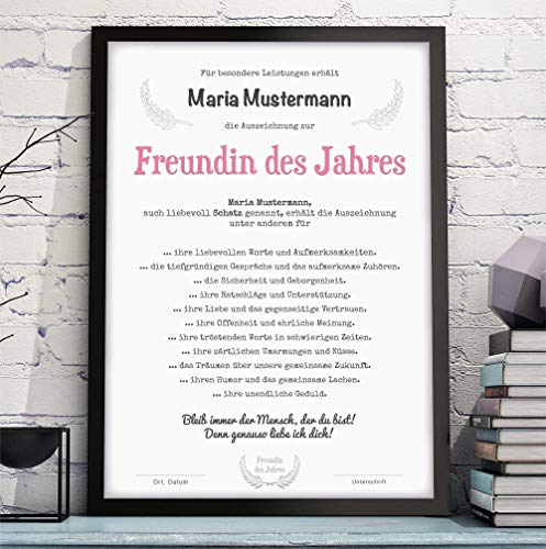 FRAU/FREUNDIN/EHEFRAU DES JAHRES Bild Urkunde Auszeichnung Danksagung - optional mit Rahmen - Geschenkidee Geburtstag Jahrestag Hochzeitstag Valentinstag