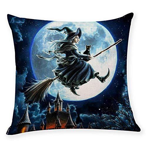 Fliyeong Premium Quality Pillow Cases,Home Decor Cushion Cover Happy Halloween Throw Pillowcase Pillow Covers I Kissenbezüge (45cmx45cm) (Halloween Stitch Happy)