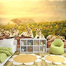 Cute Lion Cubs Fotomurales Animal africano murales pared Niños Dormitorio Decoración Disponible en 8 Tamaños Gigantesco Digital