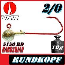 3 Stück VMC Football Jigkopf in Rot Gr 4//0 unterschiedliche Gewichte Jig Rund
