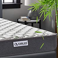 Double Bamboo Fiber Mattress, 4FT6 Double Pocket Sprung and Memory Foam Mattress Pressure Relief with 9-Zone Support System - 100 Nights Trial