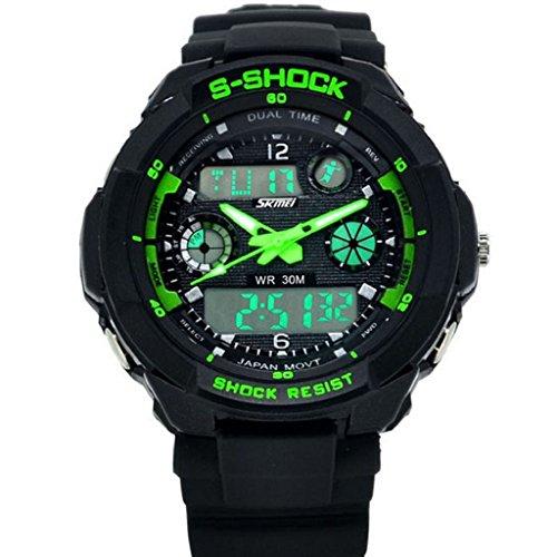zolimx Multifunción S-Shock LED analógico Reloj Digital alarma resistente al agua (verde)