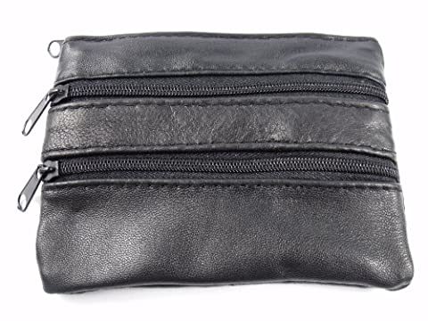 MENS LADIES SOFT BLACK LEATHER COIN POUCH PURSE WALLET 1937
