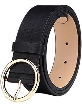 MESHIKAIER Fashion Mujer PU Cuero Cinturón Casual Cintura Cinturón + Redondo Metal Hebilla