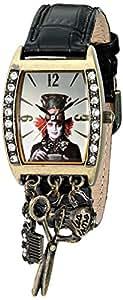 Alice in Wonderland Femme AL1003 Mad Hatter Silver Dial Black Strap Charm Montre
