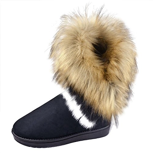 Damen Flach Stiefel Warm Gefütterte Schnee Stiefel Schwarz Winter Boots mit Fell Stiefeletten Schlupfstiefel Kurzschaft 37 Meedot (Für Schnee Mit Stiefel Frauen Fell)