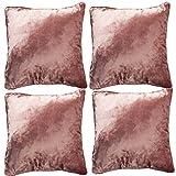 McAlister Textiles Luxury Kollektion | 4er Packung Glänzender Samt Kissenhülle 40cm x 40cm in Rose Pink | Deko Kissenbezug für Sofa, Couch, Bett, Kissen in luxuriösem Designer Plüsch