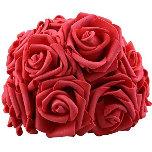 lightingsky 508cm DIY Real Touch 3D Kunstblumen Schaumstoff Rose mit Draht Vorbau für Brautschmuck Hochzeit Bouquet (keine Blätter, rot) -