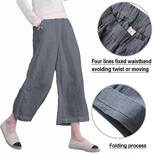 Ecupper Women's Casual Loose Plus Size Elastic Waist Cotton Trousers