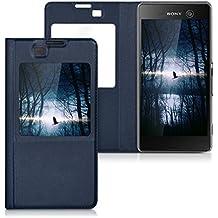 kwmobile Funda potectora práctica y chic con tapicería de cuero sintético FLIP COVER para Sony Xperia M5 en azul oscuro