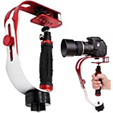 AFUNTA Pro Handheld Video Camera Stabilizer Steady Perfect For GoPro Cannon Nikon Or Any DSLR Camera Up To 2.1 Lbs With Smooth Pro Steady Glide Cam - Red + Silver + Black