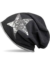 styleBREAKER Beanie Mütze mit silbernem Pailletten Stern und Rollrand, Damen 04024056