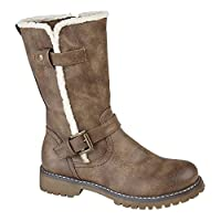 Cipriata Donna Ladies Buckle Zip Up Mid Calf Biker Boots Brown UK 8
