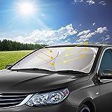 Parasol para Parabrisa, opamoo parasoles de Coche Delantero Parasol de Coche Auto Frontal Parabrisas Protector Resistente a los Rayos UV y a Luz de Sol (150x70cm