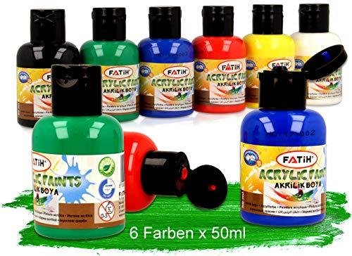 KrevoArt Acrylfarben Set für Kinder & Erwachsene | 6 Acrylfarben x 50ml, TÜV Nord Zertifiziert | Wasserfest für Leinwand, Holz, Ton, Papier