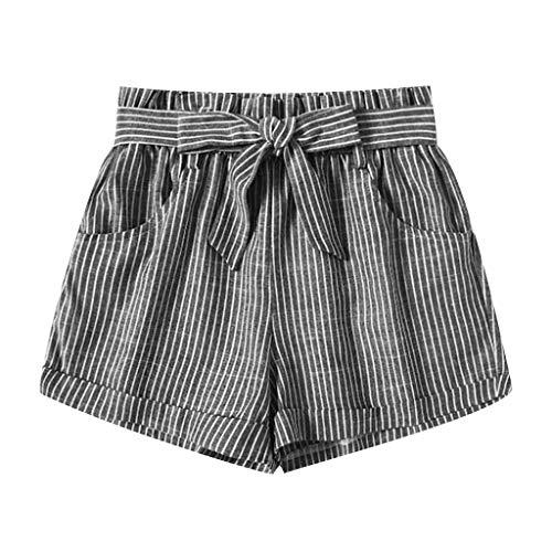 WOZOW Shorts Kurze Hose Damen Vertical Streifen Gestreift Strip Casual Loose Riemchen Bowknot Mini Freizeithose Stoffhose High Waist A Line Pyjama Trousers (S,Grau) -
