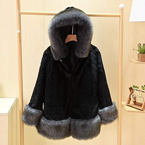 Guxiu cappotto di pelliccia naturale calda delle donne giacca di pelliccia invernale breve capispalla cappotti blu naturali per le donne,nero,l
