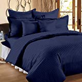 BLUE EYE SATIN009 Cotton Premium Sparkling Satin Stripe King Size Bedsheet With 2 Pillow Cover(Navy Blue_King)