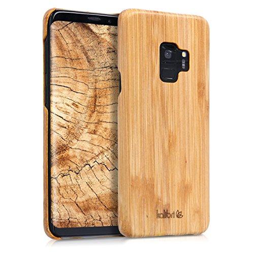 kalibri-Holz-Case-Hlle-fr-Samsung-Galaxy-S9-Handy-Cover-Schutzhlle-aus-Echt-Holz-und-Kunststoff-Mix-Bambusholz-in-Hellbraun