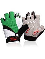 Meetlocks Los medios guantes de ciclo con el gel de silicona del cojín, de malla transpirable de tela, tejido de Lycra para MTB y montar a caballo de carreras de bicicletas