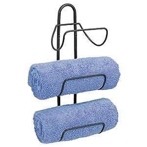 mDesign Estante toallero para montar en la pared – Estantería de baño en metal con 3 soportes – Elegante toallero de…