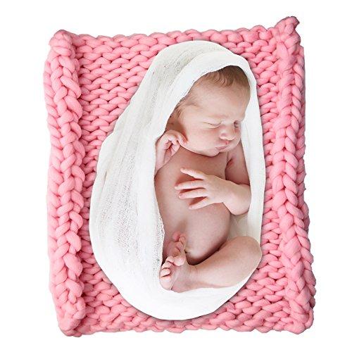 Foto Werfen (DrCosy Baby Foto Decke Gestrickte Foto Matte Neugeborenen Fotografie Requisiten Infant Foto Braid Stricken Werfen Dickes Garn Pet Bett Decor Stuhl Sofa Teppich 50cmx50cm)
