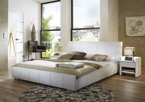 SAM® Latina Polsterbett in weiß, Bett mit gepolstertem Kopfteil im abgestepptem Design und pflegeleichter Oberfläche, stilvolle Chromfüße, Bettgestell auch als Wasserbett verwendbar, 140 x 200 cm