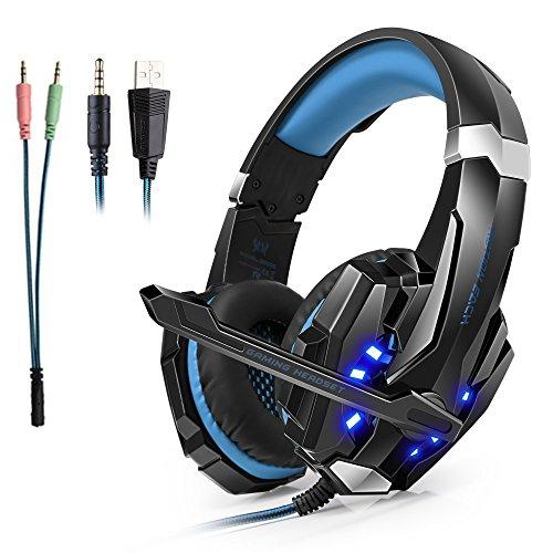 Headset Gaming PS4 PC ArkarTech Kopfhörer Mikrofon Gamer Einstellbare Bass-Stereo LED-Licht für Laptop PS4 PC Tablets New Xbox One Nintendo und Smartphones(Splitter Adapter frei)