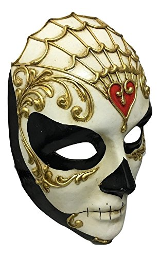Damen Volto Full Face Day Of The Dead traditionellen venezianischen Masquerade Maske mit Gothic Twist