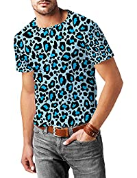 Estampado de leopardo brillante azul para hombre mezcla de algodón T-Shirt