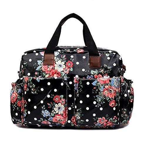 Miss Lulu 4 Piece Flower Dot Baby Nappy Changing Bag Set Black L1501F BK
