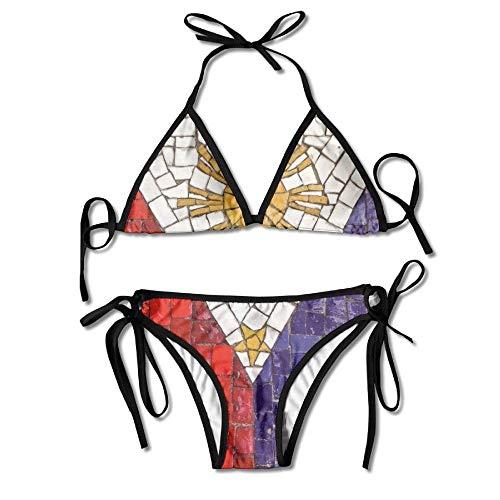 Rghkjlp Flag of Philippines Womens Triangle Top Bikini Swimsuit Sliding Swimwear
