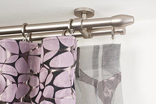 Incasa bastone doppio per tende Ø 20 mm, l. 160 cm. in acciaio satinato – completo