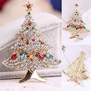 STYLEEA Frauen Weihnachtsbaum Brosche Mode Schal Clip Party Hochzeit Weinlese Gold Uberzogene Blumen Kristall Korean Brosche Fur Frauen