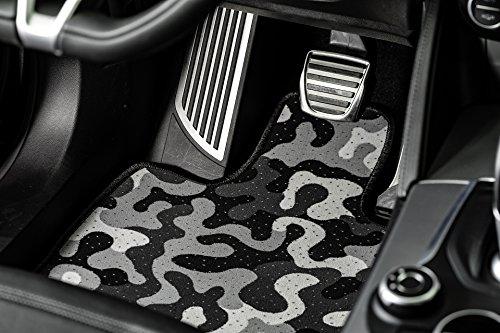 Officinemilano set 4 tappeti auto in moquette disponibili in 3 disegni: pied de poule, camouflage grigio e margherita. 4 diverse misure per adattarsi al meglio alla tua auto (camouflage grigio, d)