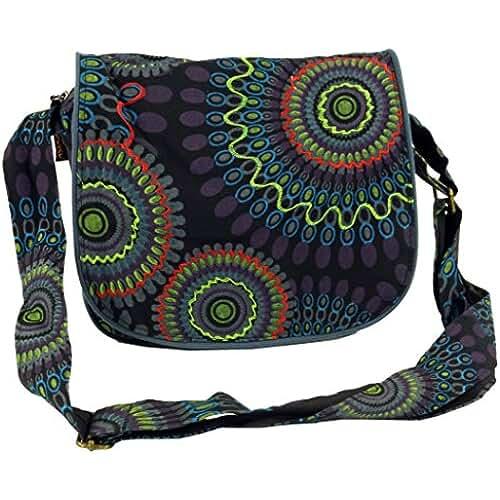 ofertas para el dia de la madre Guru-Shop Bolso, Bolso Hippie, Bolso Goa - Negro, Unisex - Adultos, Algodón, 22x23x5 cm, Bolsas de Hombro