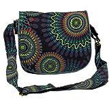 Guru-Shop Schultertasche, Hippie Tasche, Goa Tasche - Schwarz, Herren/Damen, Baumwolle, Size:One Size, 22x23x5 cm, Alternative Umhängetasche, Handtasche aus Stoff