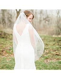 Aukmla Voile de Mariée à 2 Niveaux avec Peigne - en Tulle Doux, Accessoire  de 7e7a70d693e4